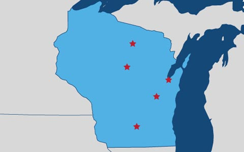Service map of Wisconsin
